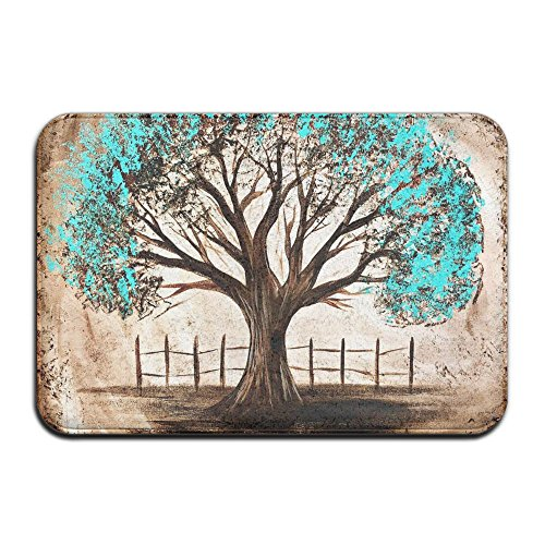 Door Mat Blue Life Of Tree Non-slip Stain Fade Resistant Soft Living Dining Room Rug For Front Door Entrance Outside Doormat 23.615.70.39Inch