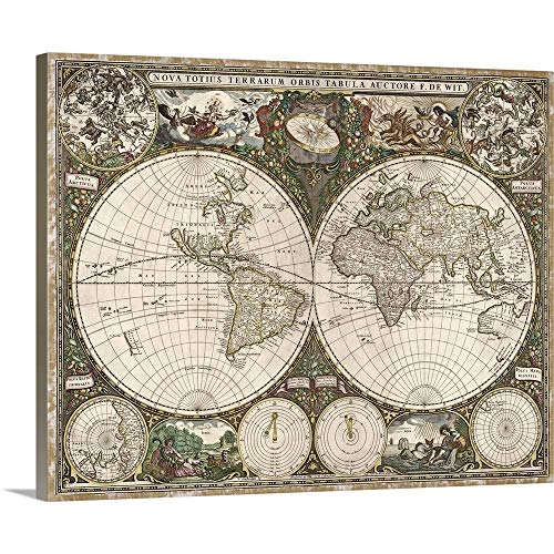 Antique Map of The World, 1660 Canvas Wall Art Print, 30 x24 x1.25
