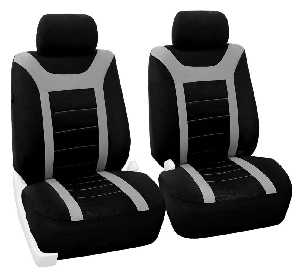 Amazon com fh group fb070gray102 gray front airbag ready sport bucket seat cover set of 2 automotive