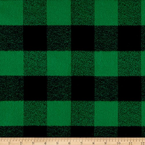 Kaufman Mammoth Flannel Buffalo Check Large Green Fabric By The - Fabric Green Plaid