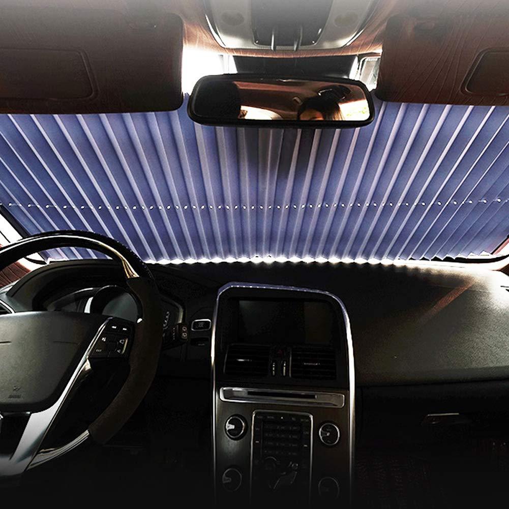 NAttnJf Auto einziehbare Frontscheibe Anti-UV-Sonnenblende Falten Auto Windschutzscheibe Cover Ersatz Golden
