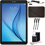 """Samsung Galaxy Tab E 9.6"""" 16GB Tablet PC (Wi-Fi) - Black Accessory Bundle includes Tablet, Cleaning Kit, 3 Stylus Pens, Metal Ear Buds and Protective Sleeve"""