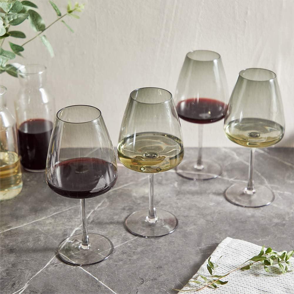 Lot de Verres /à Vin Blanc et Rouge Lot de Verrerie /à Vin VonShef Lot de 4 Verres /à Vin Teint/és
