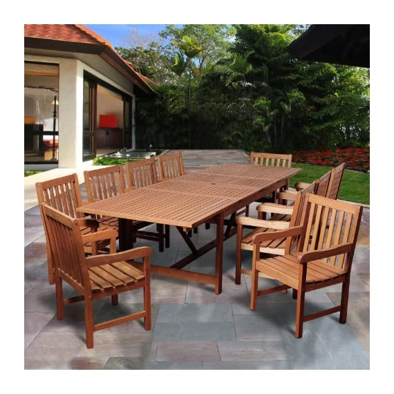 Amazonia SC Ley_10BT364 Cleveland 11 Piece Eucalyptus Extendable Rectangular Dining Set - Amazonia Eucalyptus Collection 10 armchairs 23L x 19.5W x 35H, 1 extendable rectangular table 79L x 42W x 29H; Extendable length 118 High Quality Eucalyptus Wood (Eucalyptus Grandis) - patio-furniture, dining-sets-patio-funiture, patio - 61qTGGt7GiL. SS570  -