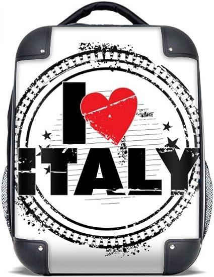 DIYthinker Amo Italia Palabra Círculo del amor del corazón sello del estuche rígido de transporte para hombro Niños Mochila 15