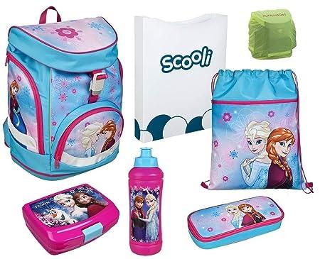 Familando Mädchen Schulrucksack-Set 7-tlg. Scooli Twixter Up Schulranzen Disney Die Eiskönigin Elsa und Anna mit Dose, Flasch
