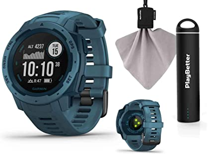 Garmin Instinct (Lakeside Blue) Outdoor GPS Watch Power Bundle | with  PlayBetter Portable Charger & SPUDZ Retractable Microfiber Towel | Rugged  GPS