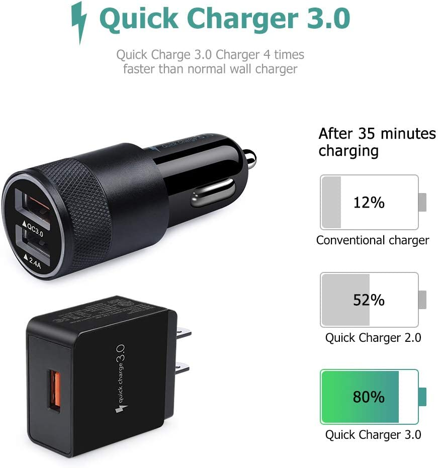 OnePlus 7T Pro LG Stylo 4 5 G7 Dual Port Car Charger Adapter Powerful QC3.0 Charger Cube with 2Pack 6ft Type C Cable Compatible for Samsung Galaxy S10e A10e A20 A90 A50s M30s Quick Charger 3.0 Set