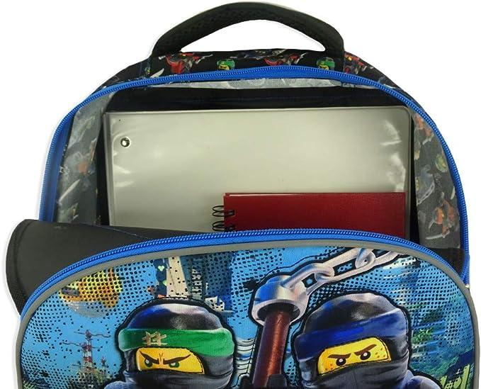 Lego Ninjago 16 3D Quilted Kids Children Toddler School Multipurpose Laptop Backpack Bag - Black/Blue