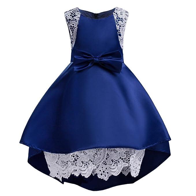 Ankoee Vestido Rosa y azul de Princesa Fiestas Boda para Niñas Vestidos Elegantes de Noche Flor