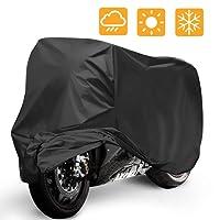Mopalwin Moto(265 * 105 * 125cm XXL) et Vélo(190x65x98CM L) Housse de Protection, Couverture Imperméable avec Aissu Anti-poussière pour Moto, Scooter protège de la Pluie, Soleil(Noir)