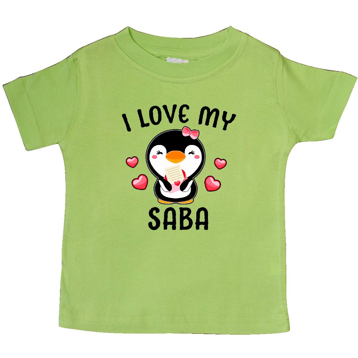 inktastic I Love My Saba with Cute Penguin and Hearts Baby T-Shirt