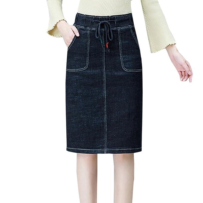 8a7b7f7e8 Moda Cintura Elástica Denim Lápiz Falda Para Dama De Las Mujeres Más Tamaño  A-line Falda Delgada De Verano Keen-longitud Vaquero Faldas