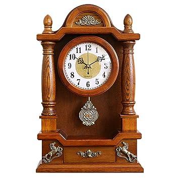 Relojes de Escritorio Mesa de mesa Sala de estar Decoración Dormitorio Relojes de escritorio vintage Operado con batería Péndulo silencioso Sin tictac ...