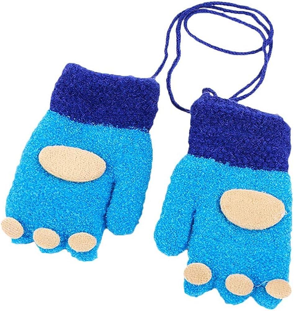 Cartoon Fingerprint Patchwork Keep Warm Mittens Gloves Unisex Kids Baby Gloves Wool for 2-4 Years HEETEY Children Girls Boys Winter Gloves
