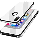 KADES Protective iPhone X Case with Anti-Scratch Tempered Glass Back Cover and Reinforced Bumper for Apple iPhone X / iPhone 10 - White