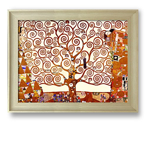 Framed Art The Tree of Life 1905 by Gustav Klimt Famous Painting Wall Decor Natural Wood Finish Frame
