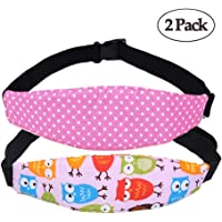 2 Pcs Baby Car Seat Neck Relief and Head Support,Silence Shopping Car Seat Head Band Strap Headrest,Stroller Car Seat Sleeping Head Support for Toddler Child Children Kids Infant Christmas (Pink)