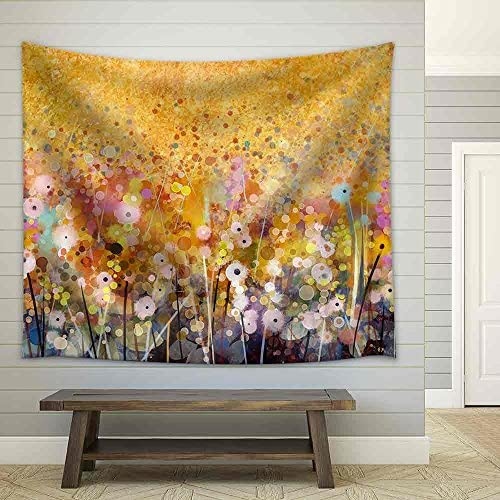 Watercolor Red Poppy Flowers Painting Fabric Wall