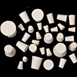 HAPY SHOP 32 Pack Solid Rubber Stoppers,000#-7# Sizes Assortment White Lab Plugs,10 Assorted Sizes