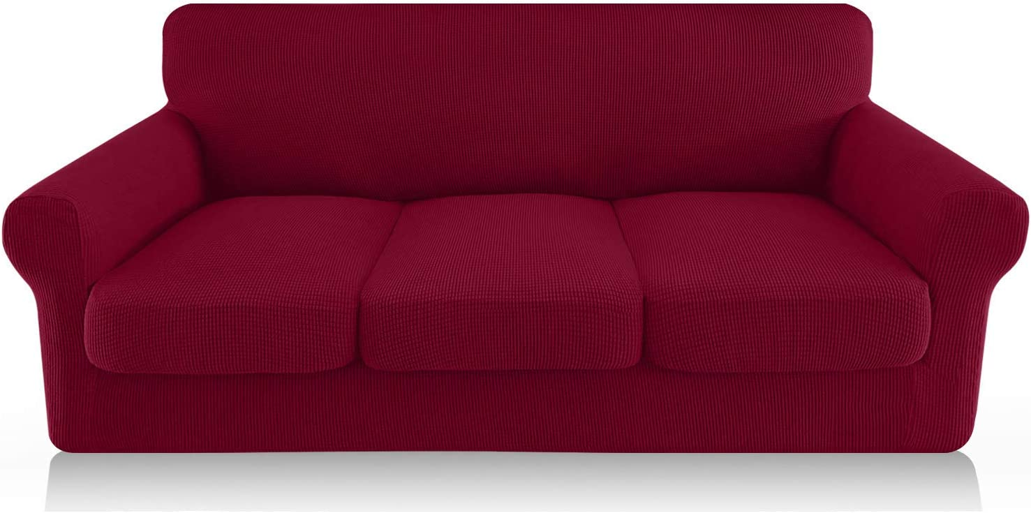 FAHUA 4 Piece High Stretch Couch Covers for 3 Cushion Couch Soft Sofa Cover with Separate Cushion Cover Form Fit Sofa Slipcover Furniture Protector Machine Washable (Large, Wine Red)