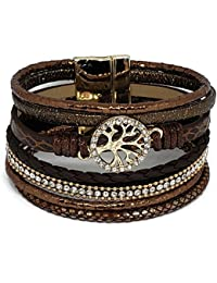 Tree of Life Bohemian Leather and Crystal Multi-Layered Wide Wrap Bracelet w/Magnetic Clasp