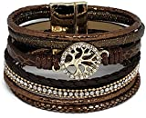 Pelican Sunwear Tree Life Bracelet - Bohemian Leather Crystal Multi-Layered Wide Cuff Wrap Magnetic Clasp (Brown)
