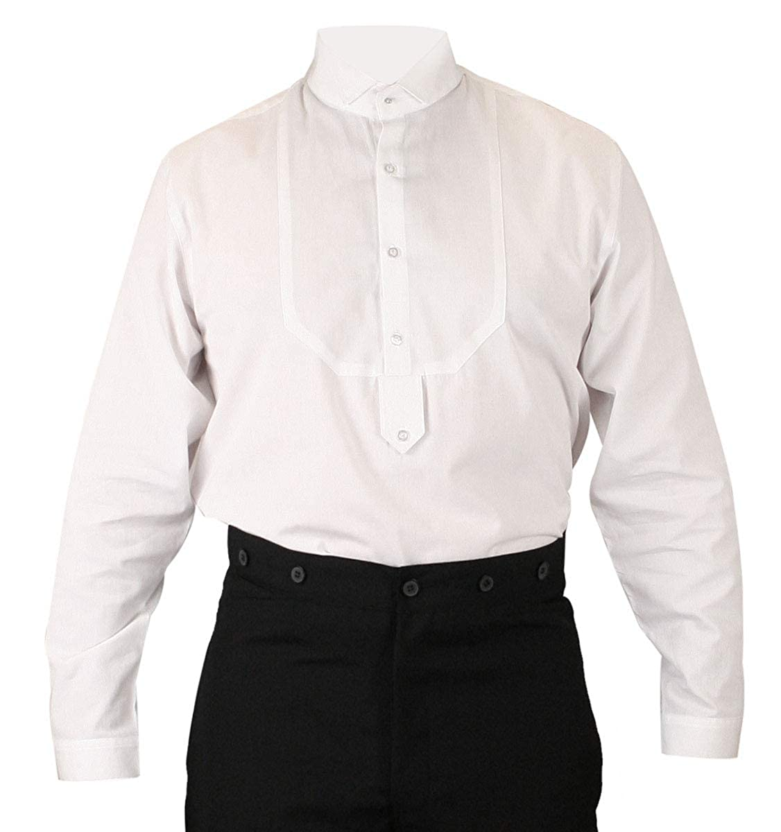 Victorian Men's Shirts- Wingtip, Gambler, Bib, Collarless Wing Tip Collar Stud/Cufflink Convertible Dress Shirt Historical Emporium Mens Victorian $59.95 AT vintagedancer.com