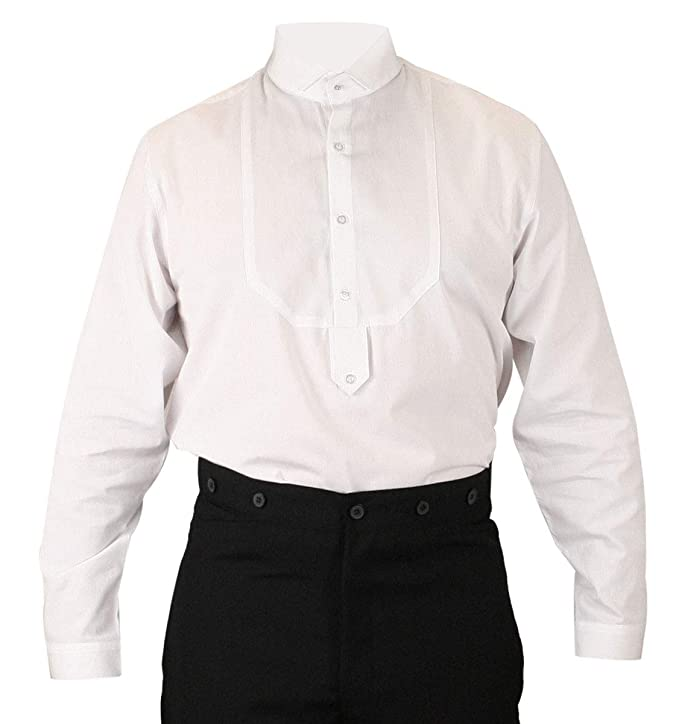 Victorian Men's Shirts- Wingtip, Gambler, Bib, Collarless Historical Emporium Mens Victorian Wing Tip Collar Stud/Cufflink Convertible Dress Shirt $59.95 AT vintagedancer.com