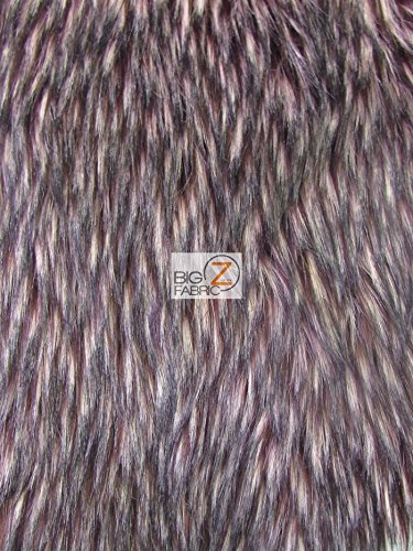 Big Z Fabric ANIMAL FAUX FUR FABRIC SOLD BY THE YARD LONG/SHORT PILE COSTUME COATS SCARFS ASSORTED (Siberian Husky Burgundy)