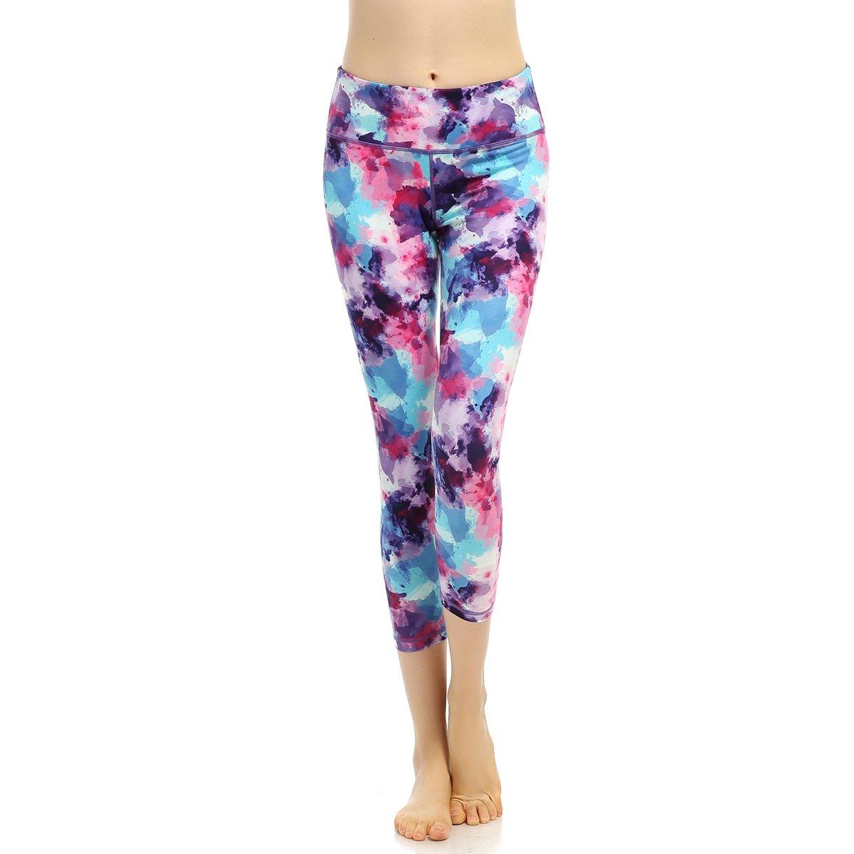SOUTEAM Women's Workout Capri Pants Printed Active Yoga Leggings, Watercolor Pattern S170122229