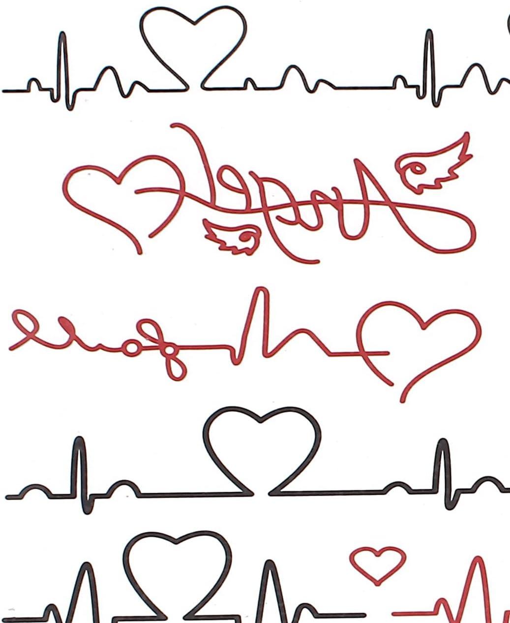 En forma de corazón Electrocardiograma Body Art falsos tatuajes ...