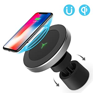 Funxim Magnetic Wireless Car Charger W5, Air Vent and Dashboard Mount Holder Cradle Qi Standard Compatible with Any Qi Enabled Smartphone