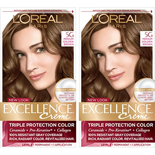 L'Oréal Paris Excellence Créme Permanent Hair Color, 5G Medium Golden Brown, 2 COUNT 100% Gray Coverage Hair Dye