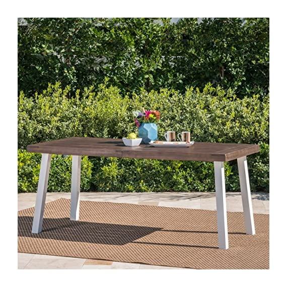 Olivia Outdoor Dark Brown Finished Acacia Wood Dining Table with White Finished Rustic Metal Legs -  - patio-tables, patio-furniture, patio - 61qTKbY0pZL. SS570  -