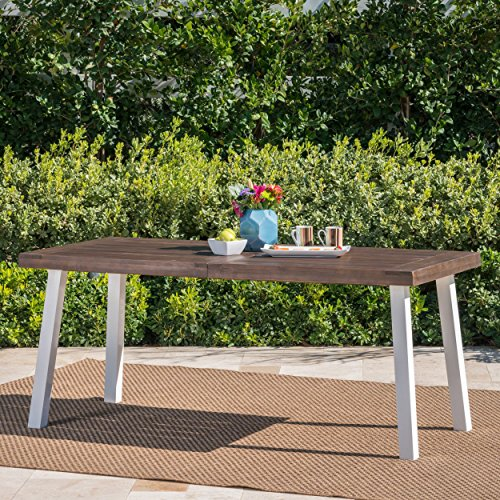 Olivia Outdoor Dark Brown Finished Acacia Wood Dining Table with White Finished Rustic Metal Legs