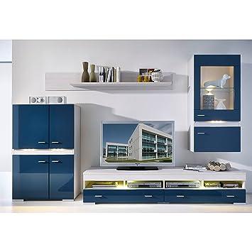 Wohnwand blau hochglanz/ Lärche: Amazon.de: Küche & Haushalt