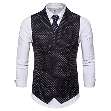 eb3cfe8aeed07 MODOQO Men s Lapel Business Suit Vest Double-Breasted Casual Waistcoat Top  (Black