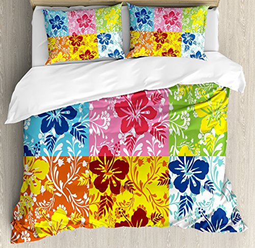 Ambesonne Hawaiian Duvet Cover Set King Size, Tropical Colorful Blooming Hibiscus Flower Summer Themed Pattern with Leaves, Decorative 3 Piece Bedding Set with 2 Pillow Shams, Blue Pink Green