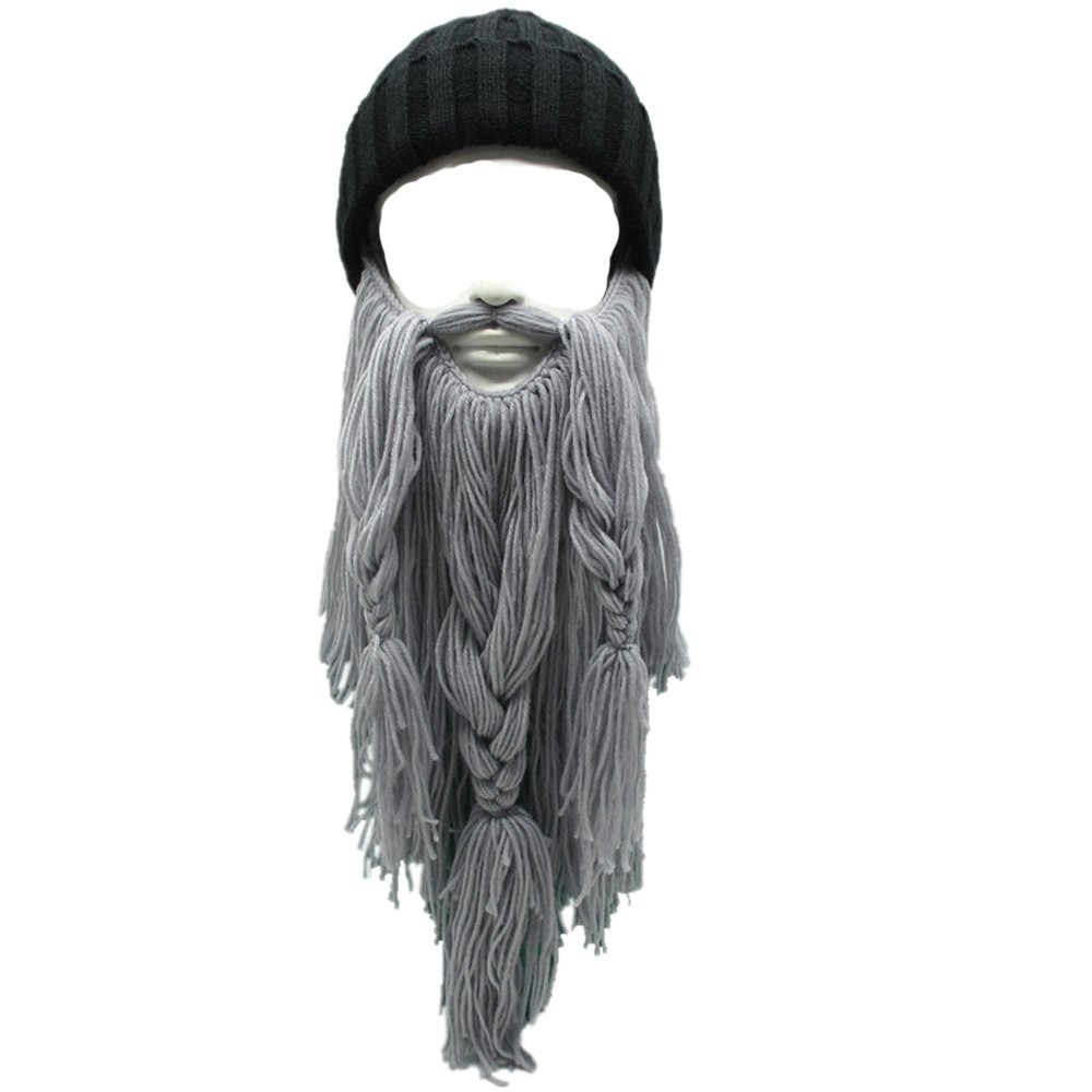 Flyou Viking Beard Beanie Horn Hat Winter Warm Mask Knitted Wool Funny Skull Cap