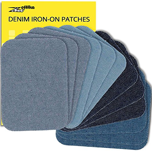 Zefffka Denim Iron On Jean Patches Shades Of Blue 12 Pieces Cotton Jeans Repair Kit 3