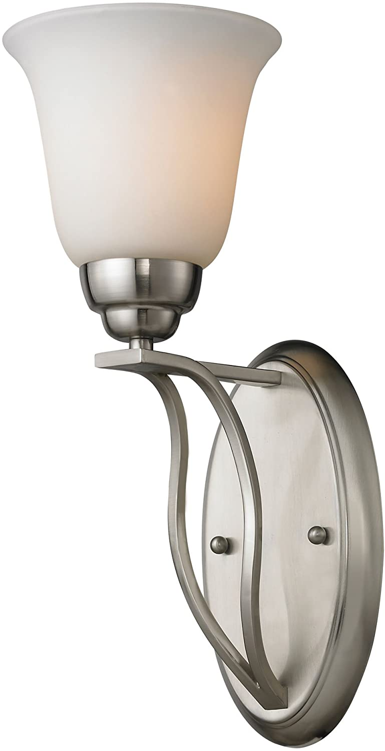 Elk 11520//1 6 by 15-Inch Malaga 1-Light Wall Sconce with Opal White Glass Shade Brushed Nickel Finish