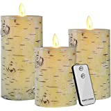 Set of 3 Real Wax Battery Operated Flameless LED Candles with Timer Remote Control