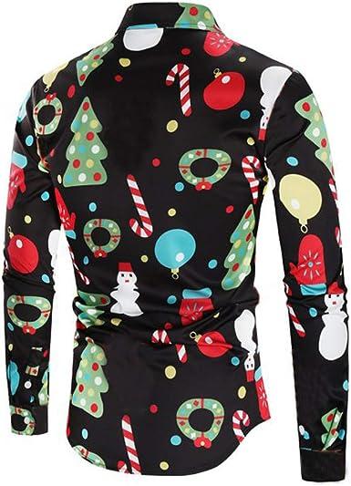 HCFKJ Hombres Casual Tema De Navidad BotóN De Camisa Superior Blusa: Amazon.es: Ropa y accesorios