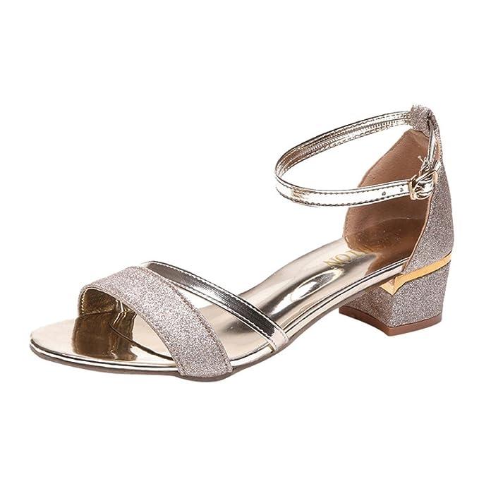 faee3e75b54 Tsmile Women Sandals Ankle Mid Heel Block Party Open Toe Shoes Fashion  Sequins Sandals Gold