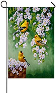 Afagahahs Birds Wildlife Goldfinches Apple Blossoms Garden Flag - Double Sided Holiday Decorative Outdoor House Flag