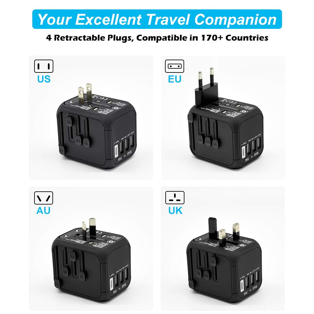 Universal International Travel Adapter with Auto-Reset Fuse, Whew All-in-One Worldwide Power Adapter Travel Plug Adapter, 5A USB Output, 1 Type C, 3 USB for US, UK, EU, AU, 170+ Countries (Black) by Whew (Image #1)