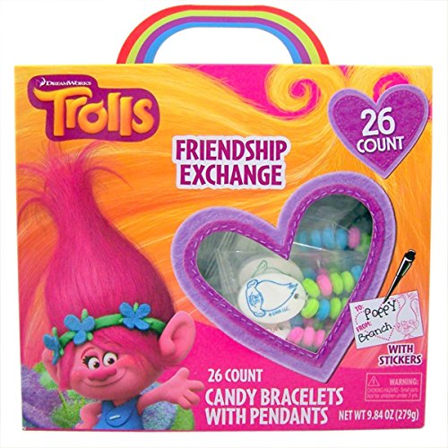 Dreamworks Trolls Valentine's Day Candy Jewelry Exchange with Stickers, 26 Count