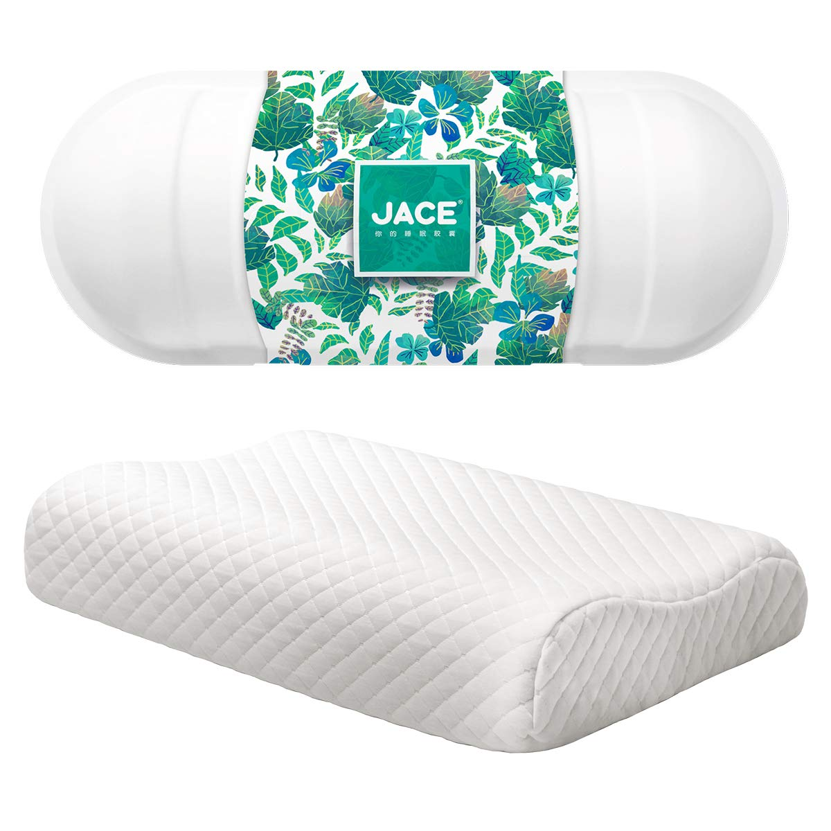 JACE Ultra-Luxury Contoured Pillow Natural Pure Latex Soft Density with AirCell Technology, Zipper Removable Cotton Case,Cooling Stomach Sleeping Pillow