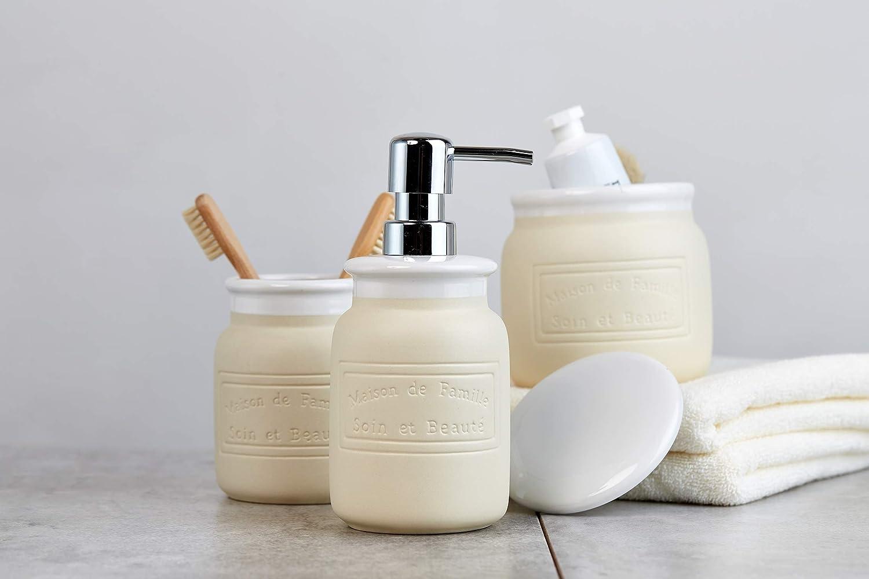 Beige Crema Cer/ámica 11.5x11.5x40 cm Wenko Maison Juego para El WC